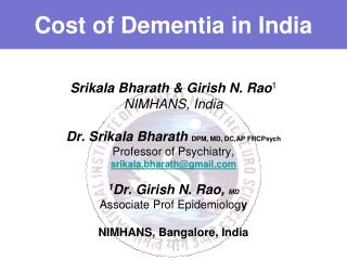 Cost of Dementia in India