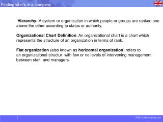 Hierarchy-  A  system or organization in which people or groups are ranked one above the other according to status or