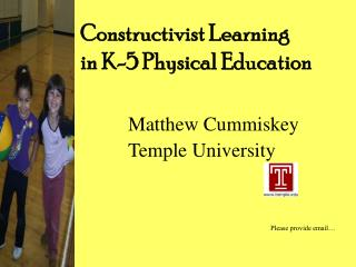Constructivist Learning  in K-5 Physical Education