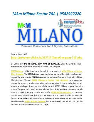 M3m Milano, M3m Milano Sector 70A | 9582922220 | Property Cl