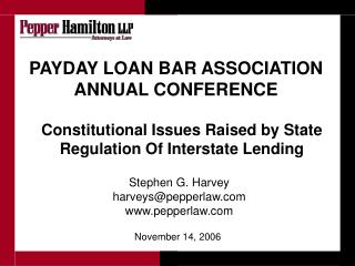PAYDAY LOAN BAR ASSOCIATION ANNUAL CONFERENCE