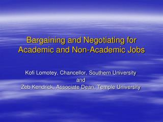 Bargaining and Negotiating for Academic and Non-Academic Jobs