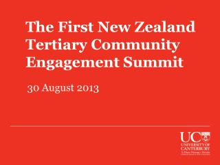 The First New Zealand Tertiary Community Engagement Summit