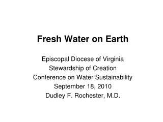 Fresh Water on Earth
