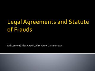 Legal Agreements and Statute of Frauds