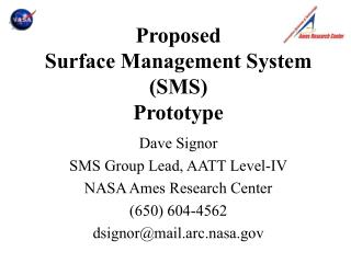 Proposed Surface Management System (SMS) Prototype