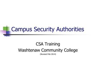 Campus  Security  Authorities