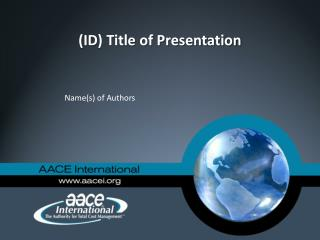 (ID) Title of Presentation