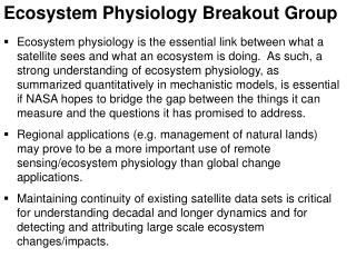 Ecosystem Physiology Breakout Group