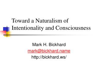 Toward a Naturalism of Intentionality and Consciousness