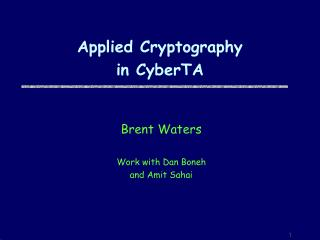 Applied Cryptography  in CyberTA