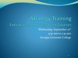 iStrategy Training Executive and Power User Courses