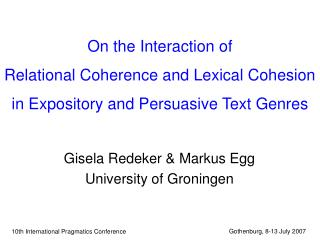 On the Interaction of  Relational Coherence and Lexical Cohesion  in Expository and Persuasive Text Genres
