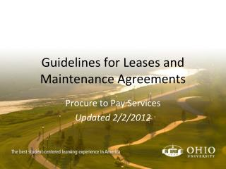Guidelines for Leases and Maintenance Agreements