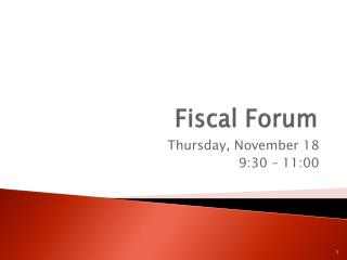 Fiscal Forum