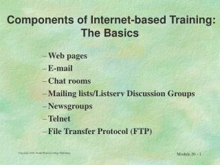 Components of Internet-based Training: The Basics