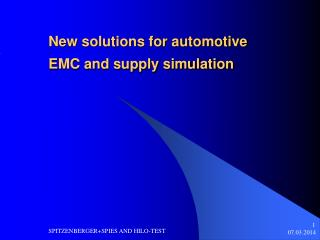 New solutions for automotive EMC and supply simulation