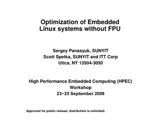 Optimization of Embedded Linux systems without FPU