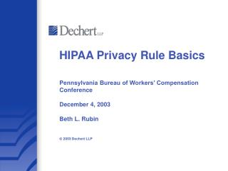 HIPAA Privacy Rule Basics