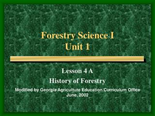 Forestry Science I Unit 1