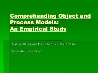 Comprehending Object and Process Models: An Empirical Study