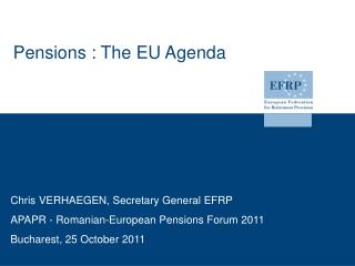 Pensions : The EU Agenda