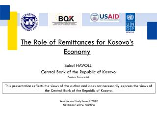 The Role of Remittances for Kosovo's Economy