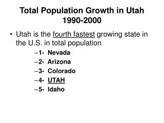 Total Population Growth in Utah 1990-2000