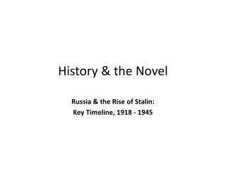 History & the Novel