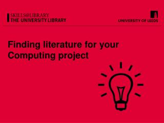 Finding literature for your Computing project