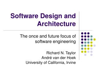 Software Design and Architecture