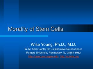 Morality of Stem Cells