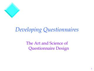 Developing Questionnaires