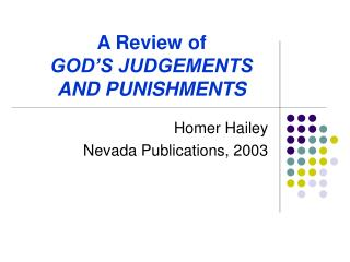 A Review of GOD'S JUDGEMENTS AND PUNISHMENTS