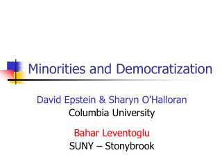 Minorities and Democratization