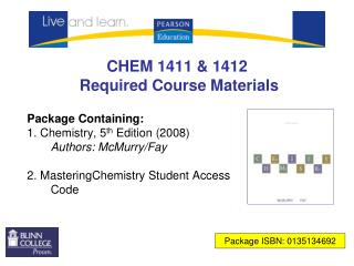 CHEM 1411 & 1412 Required Course Materials