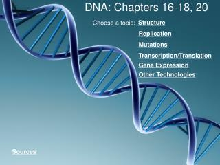 DNA: Chapters 16-18, 20
