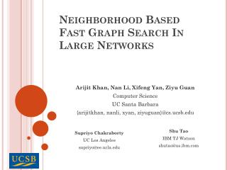 Neighborhood Based Fast Graph Search In Large Networks