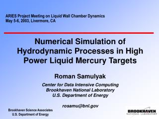 ARIES Project Meeting on Liquid Wall Chamber Dynamics May 5-6, 2003, Livermore, CA
