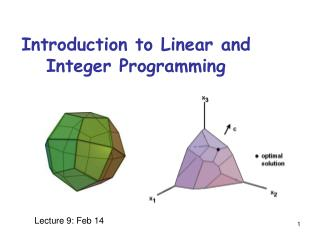 Introduction to Linear and Integer Programming
