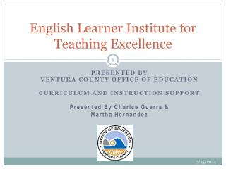 English Learner Institute for Teaching Excellence