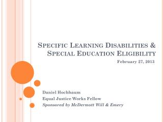 Specific Learning Disabilities & Special Education Eligibility
