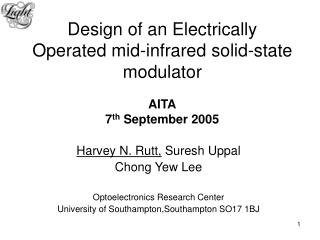 Design of an Electrically Operated mid-infrared solid-state modulator