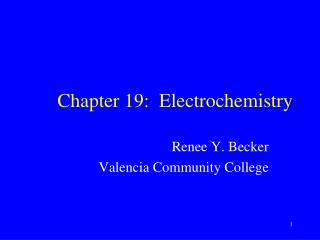 Chapter 19:   Electrochemistry