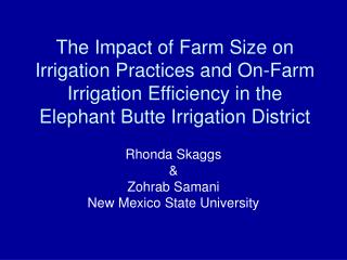 The Impact of Farm Size on Irrigation Practices and On-Farm Irrigation Efficiency in the Elephant Butte Irrigation Distr