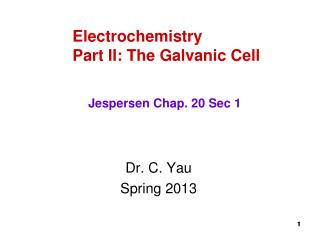 Electrochemistry Part II: The Galvanic Cell