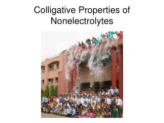 Colligative Properties of Nonelectrolytes