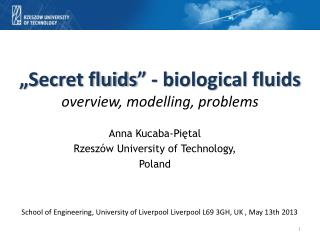 """ S ecret fluids"" - biological fluids overview, modelling, problems"