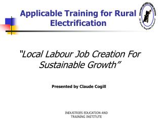 Applicable Training for Rural Electrification