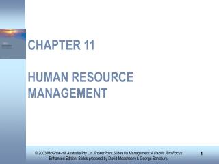 CHAPTER 11 HUMAN RESOURCE MANAGEMENT